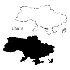 outline and silhouette map of Ukraine - vector illustration hand drawn with black lines, isolated on white background