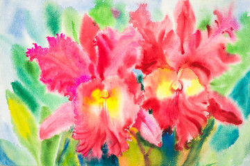 Watercolor original painting  flowers red color of orchid flower and green leaves.
