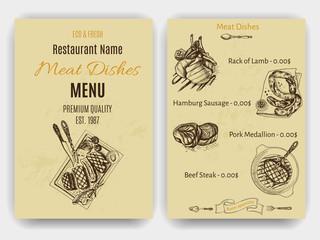 Vector illustration sketch - farm market. Card local meat shop.