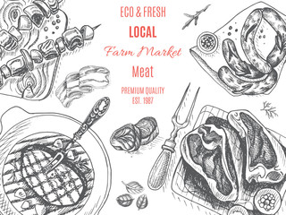 Vector illustration sketch - farm market. Card local meat shop.