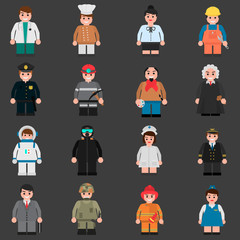 Set of people of different professions color flat icons for web and mobile design
