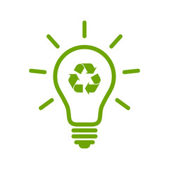 Light bulb with recycle symbol