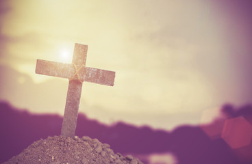 Ash wednesday cross, crucifix made of ash, dust as christian religion, Jesus, god, faith, holy, holiday,