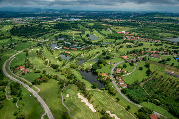Golf club, course aerial photography in Thailand