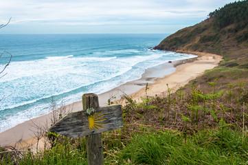 Idyllic beach in La isla, Asturias on a day in spring in Spain