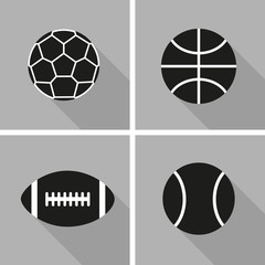 Set of silhouettes of balls on a gray background. Flat design