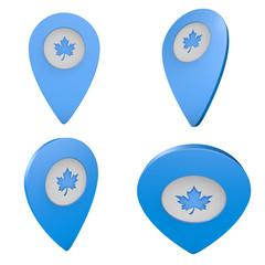 Pinezka GPS lokalizacja na mapie 3D z ikoną