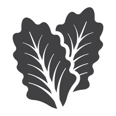 Lettuce solid icon, vegetable and salad leaf, vector graphics, a glyph pattern on a white background, eps 10.