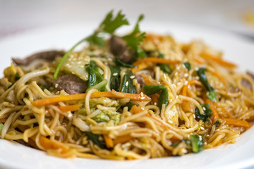 Vietnamese food, noodle with vegetables