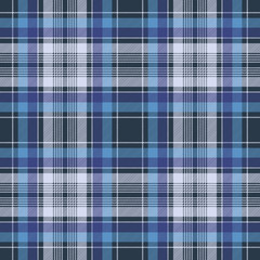 Blue check fabric texture diagonal seamless pattern