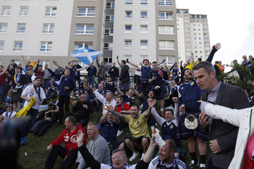 Scotland fans outside the ground before the match
