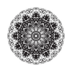 Hand drawn mandala ornament.Mehndi, henna pattern. Can be used for textiles, printing on phone, yoga Mat, coloring.