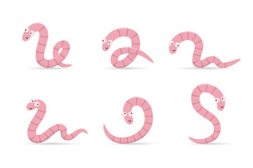Set of cute smiling worms in different poses isolated on white background