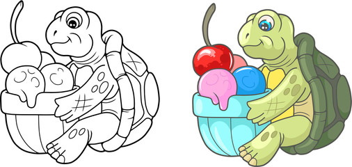 Cartoon cute turtle eating delicious ice cream