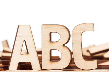Alphabet made of wooden letters