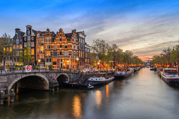 Printed roller blinds Amsterdam Amsterdam city skyline at canal waterfront when sunset, Amsterdam, Netherlands