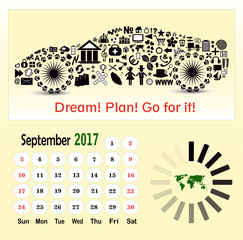 Calendar template for the month September