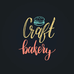 Craft Bakery vector lettering label. Calligraphy with cookie Illustration for prints,cards,posters,packaging,branding.