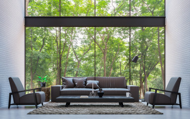 Modern loft living room with nature view 3d rendering image Furnished with dark brown leather and black wood furniture has white brick walls and large windows look out to nature.