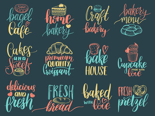 Vector set of vintage bakery hand lettering labels. Typography design,calligraphy collection with cookie Illustrations