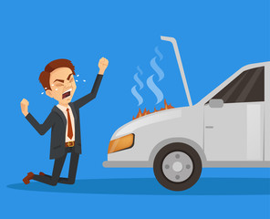Car broken down. Exploding engine. Unhappy sad angry businessman character. Vector flat cartoon illustration