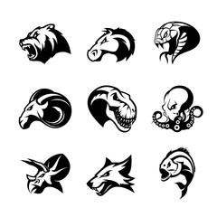 Bear, horse, snake, ram, fox, piranha, dinosaur, octopus head isolated vector logo concept.  Modern badge mascot design. Premium quality wild animal, fish, reptile t-shirt tee print illustration.