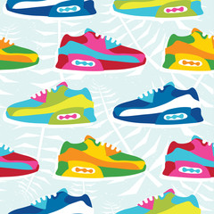 Hand drawn cartoon style hipster sneaker shoes vector seamless pattern