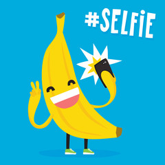 Cute kawaii banana taking selfie vector illustration