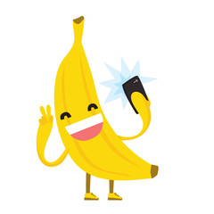 Cute kawaii yellow banana making selfie photo using mobile phone isolated vector illustration