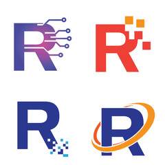 R - Letter Initial Technology Symbol Logo Template Collection