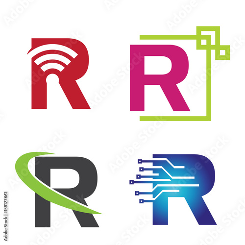 r letter initial technology symbol logo template collection