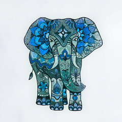 Sketch blue elephant with beautiful patterns.