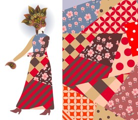 Abstract fashion girl model, dress, paisley floral hat, patchwork pattern. Vector design.