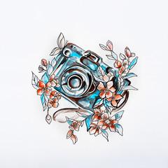 Sketch Camera in beautiful flowers in watercolor.
