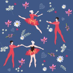 Endless pattern with ballet dancers and beautiful flowers. Vector design.