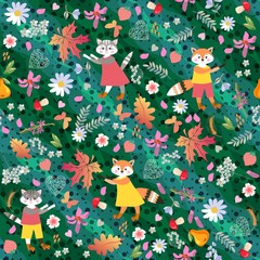 Autumn animal seamless pattern. Foxes, cats, flowers, strawberry, mushrooms and leaves on green polka dot background.