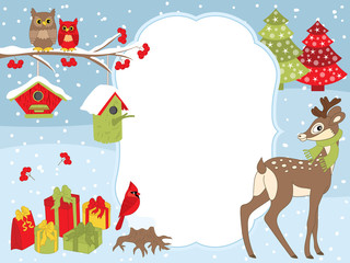 1038313 Vector Christmas and New Year Card Template with a Deer, Owls on the Branch, Cardinal, Birdhouses and Gift Boxes on Snow Background.