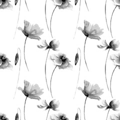 Seamless wallpaper with Poppies and Gerber flowers