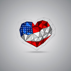 USA flag, heart shape. Vector element for design of a poster, flyer, banner, 4th July, Independence day . Grunge, polygon style, Patriotic national symbol of United States of America.