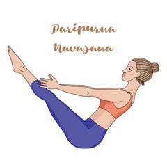 Women silhouette. Boat yoga pose. Paripurna Navasana