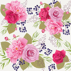 Seamless floral pattern with roses and peonies.Background for web pages, wedding invitations, save the date cards. EPS 10 vector.