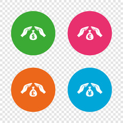 Hands insurance icons. Money savings signs.