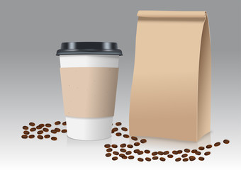 Realistic take away paper coffee cup and brown paper bag with coffee beans. Vector illustration.