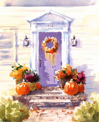 Watercolor Thanksgiving House Door Decorated with Fall Flowers and Pumpkins Autumn Illustration Hand Drawn