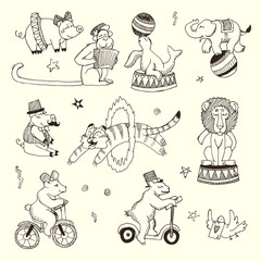 Doodle Set of Circus animals, elements isolated on white, Black contour for coloring