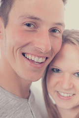 Young happy couple, closeup