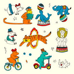 Doodle Set of Circus animals, elements isolated on white