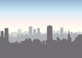 City street skyline. Urban landscape building, skyscraper. Citys