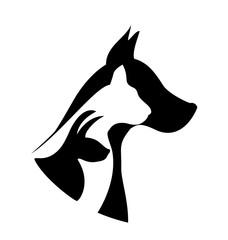 Pets silhouettes adoption logo