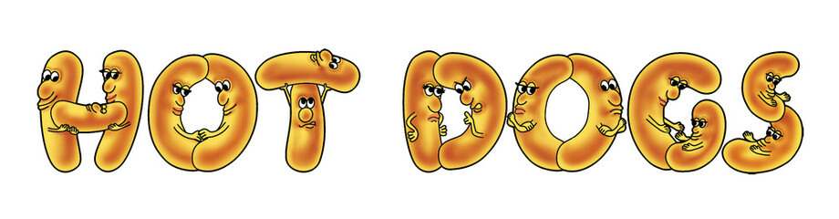 Hot dogs cartoon style letters - jpg illustration